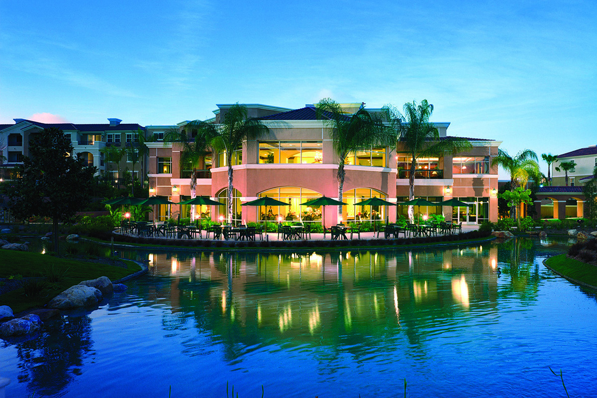 Outside seating lined with palm trees and overlooking a lake.