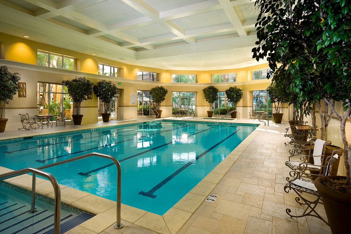 Large indoor swimming pool.
