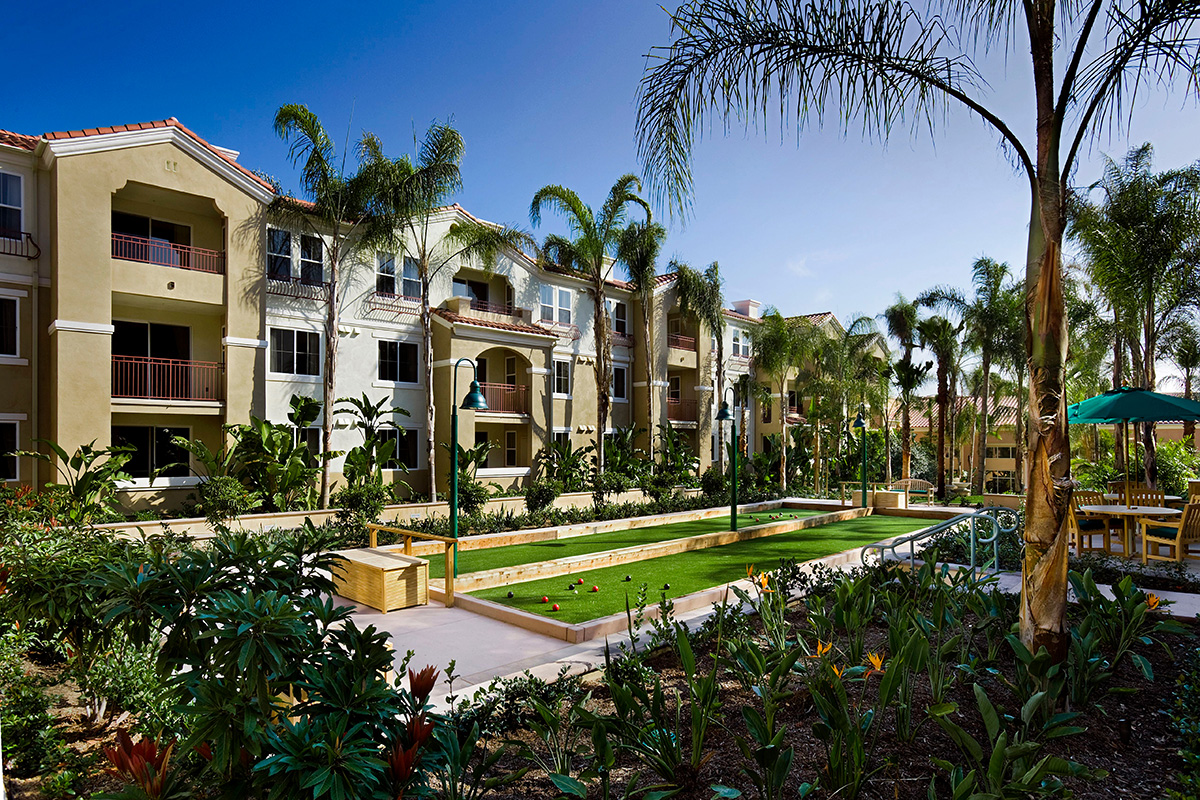 Bocce courts and resident apartments.