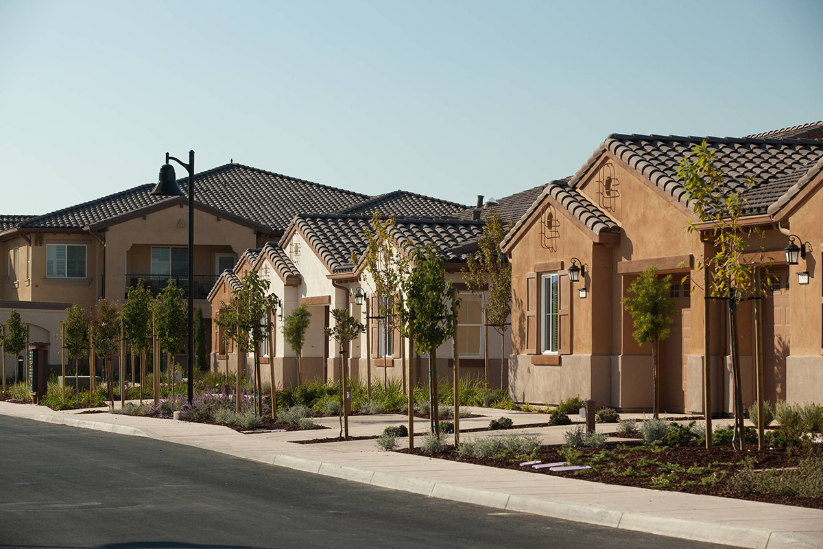 Resident homes lined with trees.