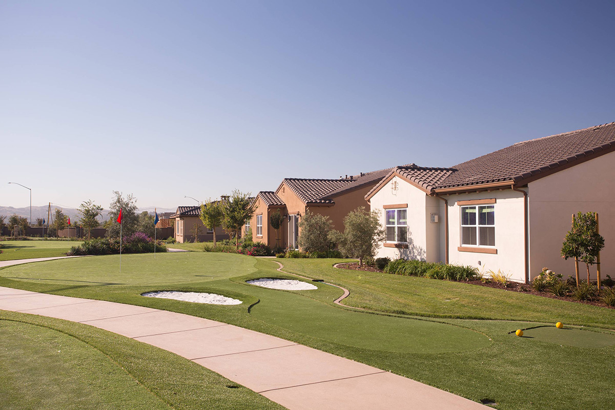 Putting green with residential homes in the background.