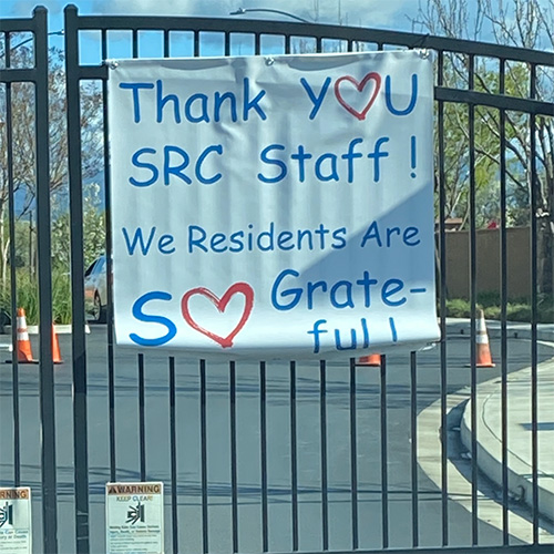 Thank you message on a gate