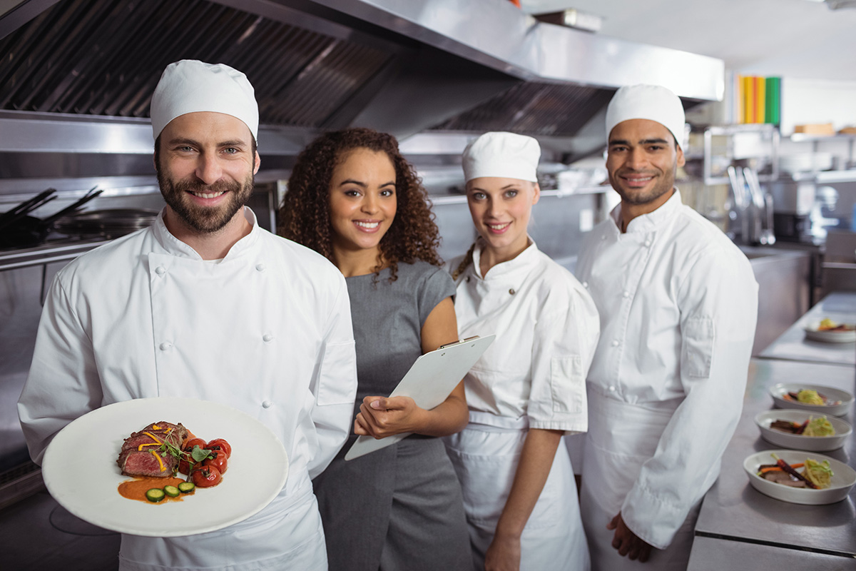 Chefs presenting food