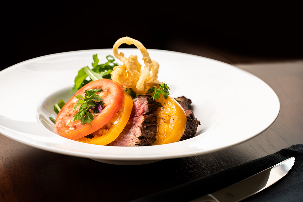 Delicious steak and tomatoes prepared for lunch