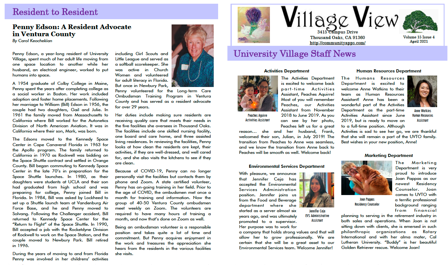 Story On Penny Edson And Village Staff News April 2021