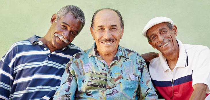 men smiling together