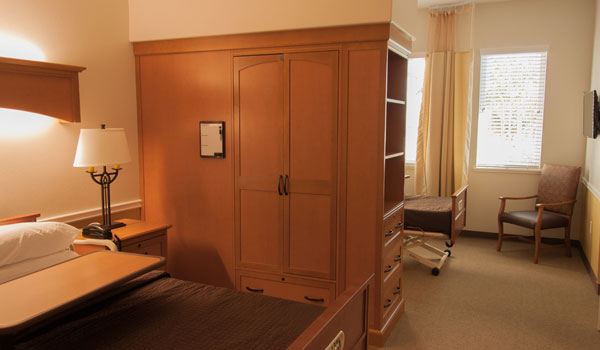 A double occupancy room with a wardrobe closet.