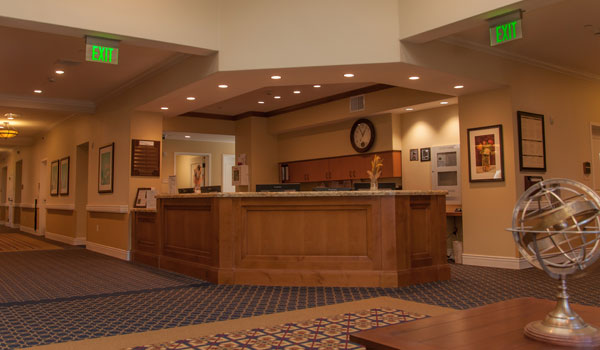 Nurses station and resident hallway.
