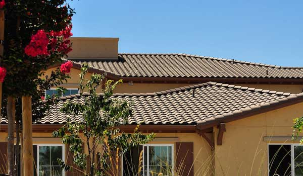A house with a tile roof.