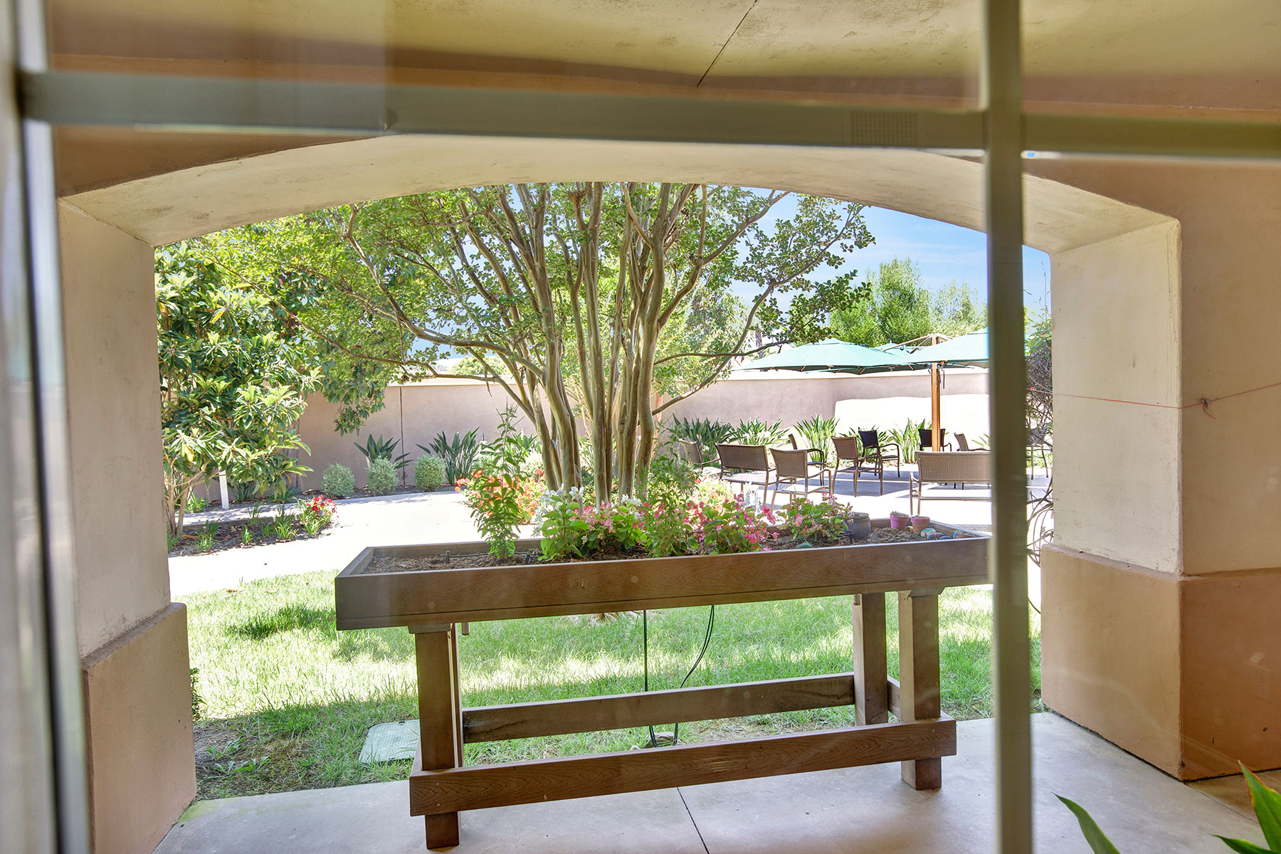 Memory Care backyard with raised garden and covered seating.