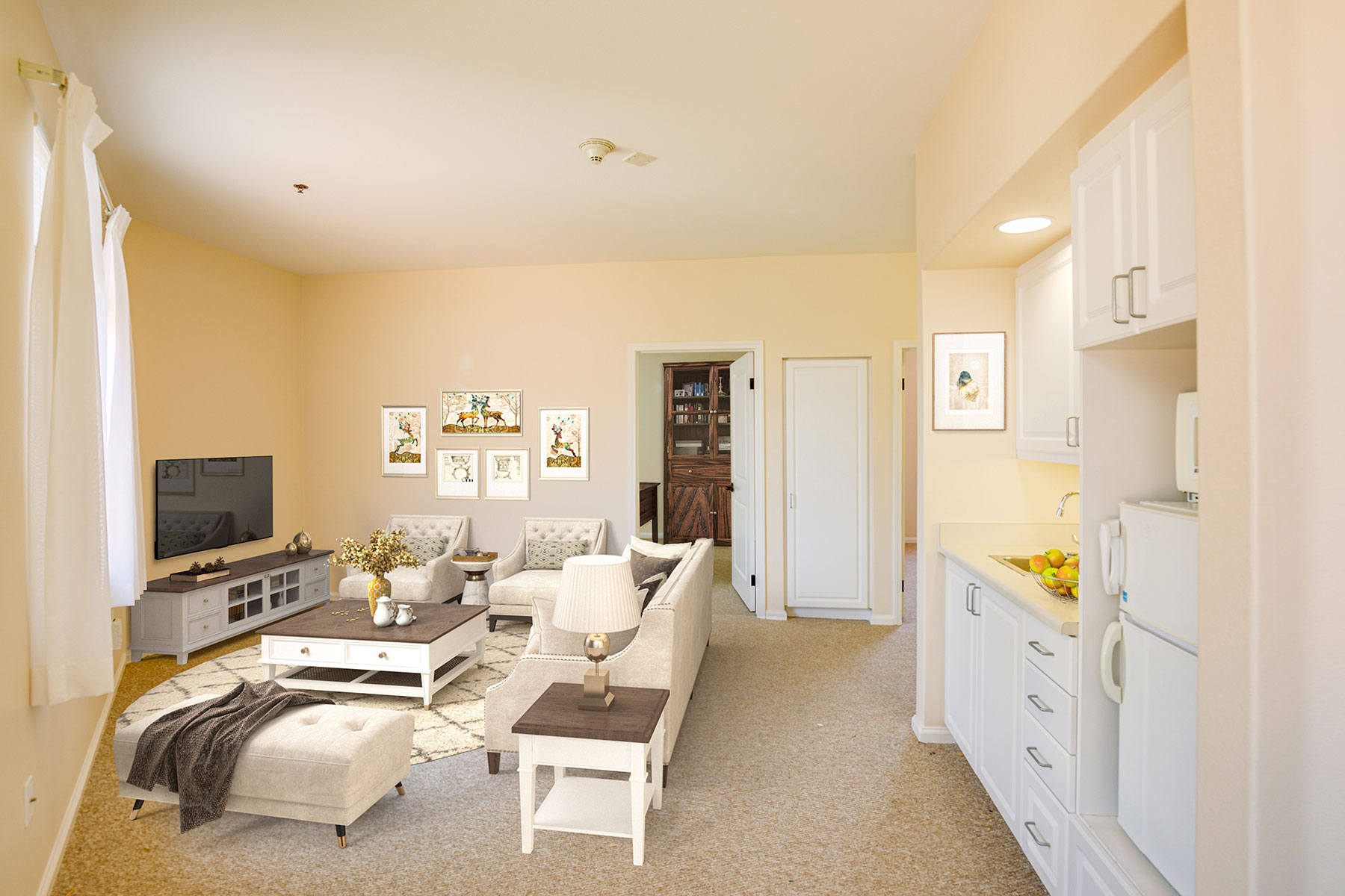 Large Assisted Living living room space.