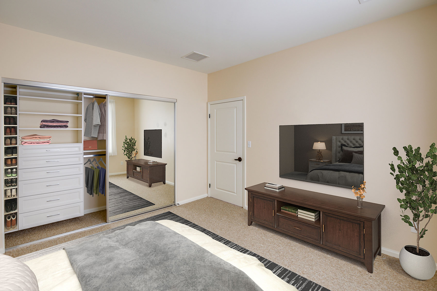 Assisted Living bedroom and closet.
