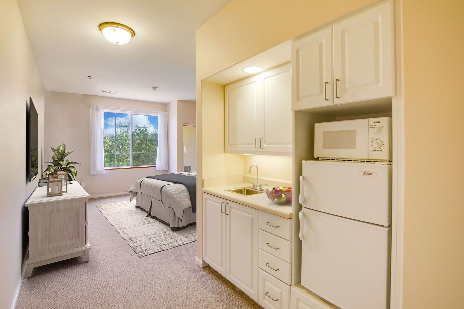 Assisted Living bedroom and kitchenette.