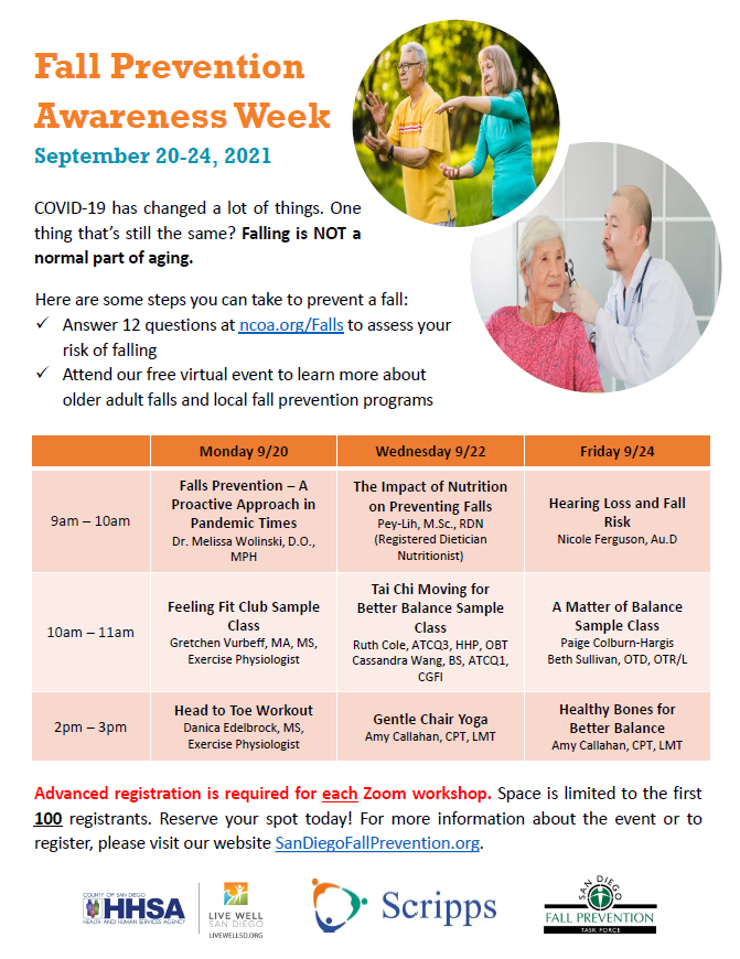 Fall prevention awareness week schedule for September.