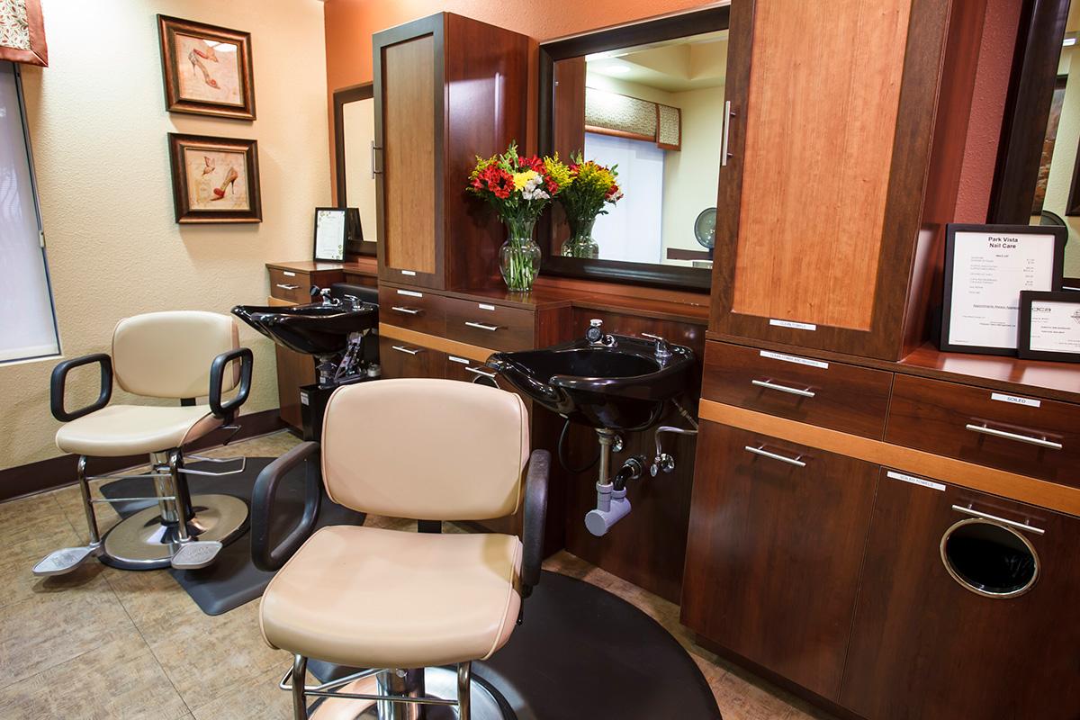 A very clean salon.