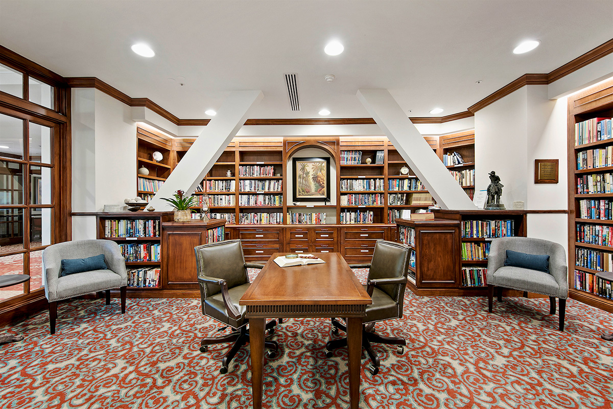 Large library with several options for seating.