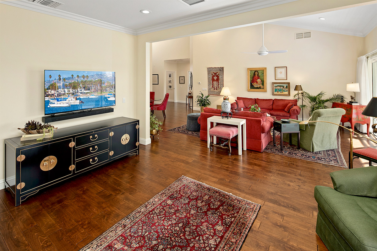Living room with television.