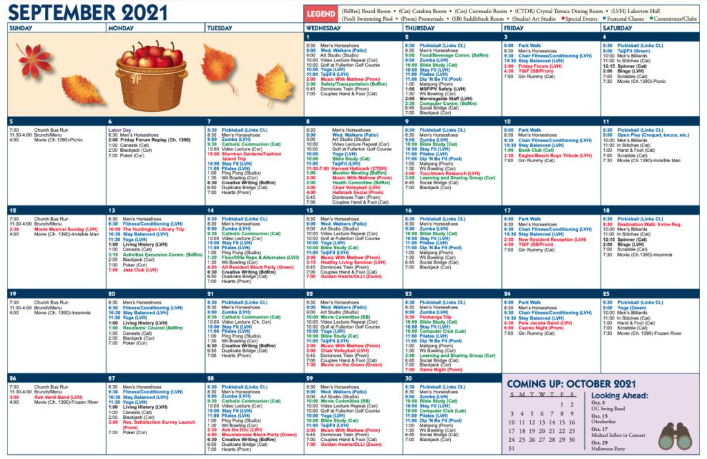 Morningside September calendar
